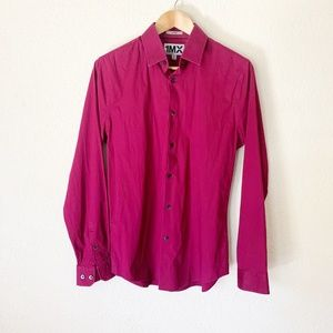 Express | Mens Fitted Magenta Button Down M